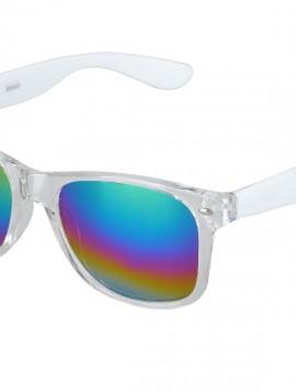 Solbrille i hvid med regnbue mirror glas.