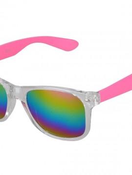 Solbrille i pink med regnbue mirror glas.