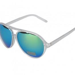 Gennemsigtig solbrille med grønlig mirror glas.