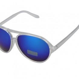 Gennemsigtig solbrille med blå mirror glas.