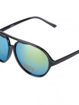 Sort solbrille med grønlige mirror glas.