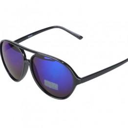 Sort solbriller med blå mirror glas.