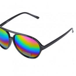 Sort solbrille med regnbue mirror glas.