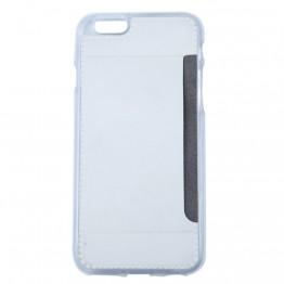 Silicone cover til iphone 6 i hvid med plads til kort.