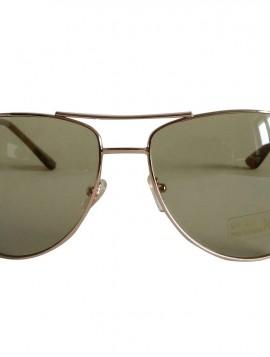 Brille med guldstel og grønne glas.