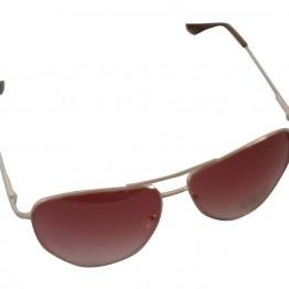 Brille med guldstel og rødt glas.