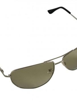Brille med sølv stel og grønne glas.