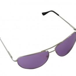 Brille med sølv stel og lilla glas.