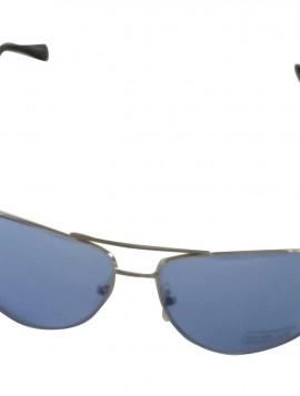 Brille med sølv stel og blå glas.