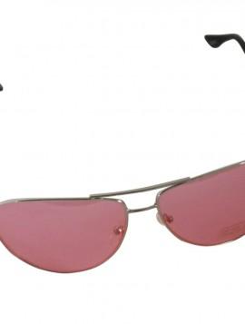 Brille med sølv stel og rødt glas.
