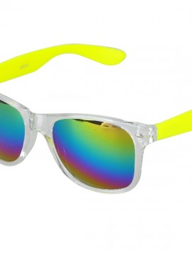 Solbriller i gul med regnbue mirror glas.