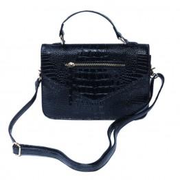 Sort taske i lak med snakelook.