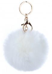 Keyhanger/ nøglering i hvid pelslook