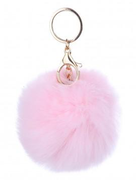 Keyhanger i lyserød pelslook.