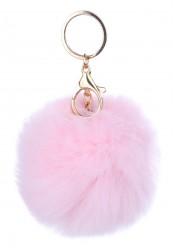 Keyhanger/ nøglering i lyserød pelslook.