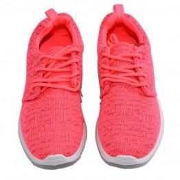 Sneakers i neon/pink meleret stof.