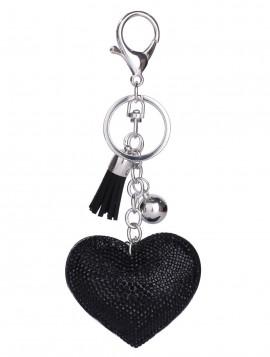 Nøglering med hjerte vedhæng med sorte simili sten.