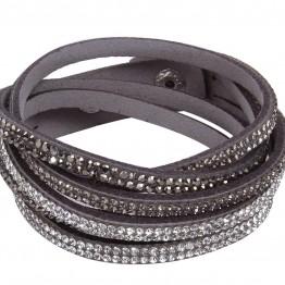 Læder armbånd i grå med similisten