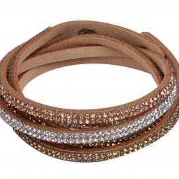 Læder armbånd i brun med similisten.