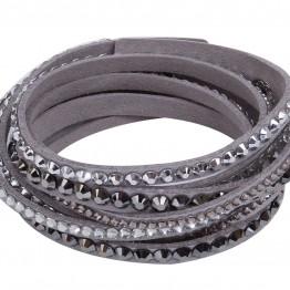 Læder armbånd i grå med similisten.