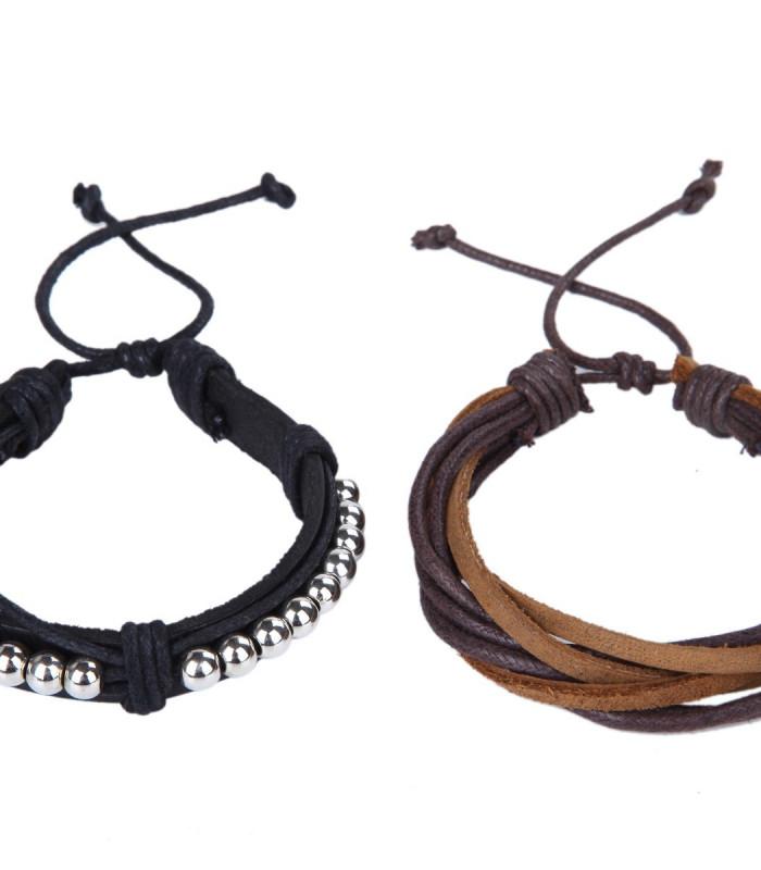 2 stk læder armbånd i sort og brun.