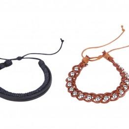 Image of   2 stk armbånd i sort og brun.