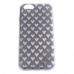 Glimmer cover med hjerter til iPhone 6