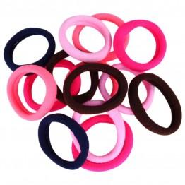 Pink/coral/lyserød/blå/brun bomulds elastikker