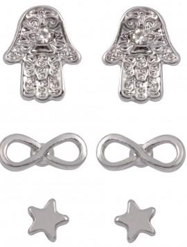 3 par øreringe i sølvlook