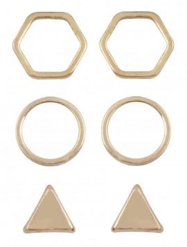 3 par øreringe i guldlook.
