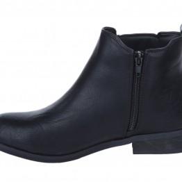 Kort støvle i sort pu.