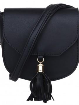 Lille coossover taske i sort pu med kvast.