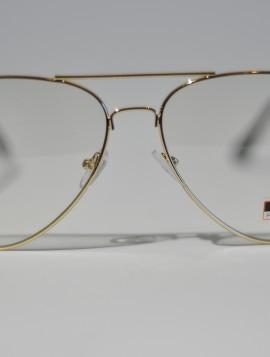 Brille med klart glas i guldlook.