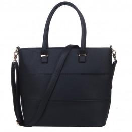 Taske i sort pu med syninger på front.
