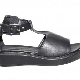 Sort sandal i pu.