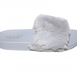 sandal i grå med imiteret pels.