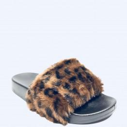 lækker sandal med leopardpels