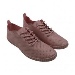 Pink letvægts sneakers med hul mønster