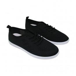 Letvægts sneakers i sort med hvid bund