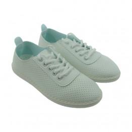 Letvægts sneakers i hvid pu med hul mønster