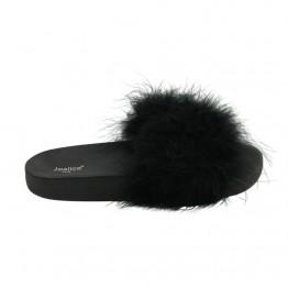 Sandal med fluffy pels