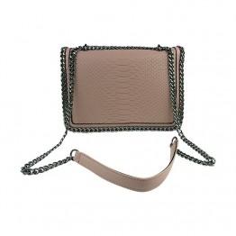 Lysrosa taske med kæde