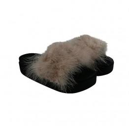 Nude pelsslippers med plateau