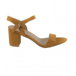 Gul sandal med blokhæl