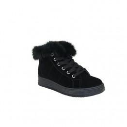 Lækker sort plateau støvle med foer