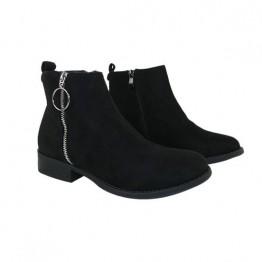 Smart sort ruskindslignende støvle med lynlås