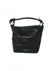 Sort taske i imiteret vasket skind med mindre taske i
