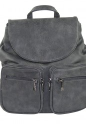 Sortgrå rygsæk med to forlommer