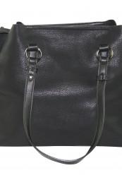 Sort taske i krakeleret læder look