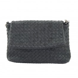 Sortgrå taske med flet krakeleret læderlook